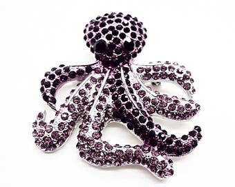 Beautiful OCTOPUS DOWN UNDER Amethyst Swarovski Crystal Brooch
