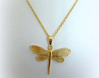 Dragon Fly GOLD Fill 14K designer Pendant, dragonfly gold filled necklace
