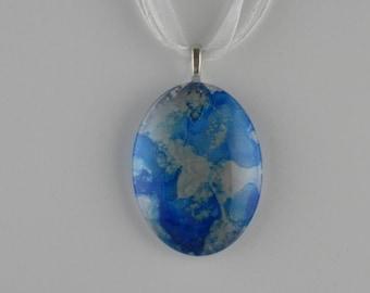 Cyan Blue & Silver Glass Cabochon Necklace