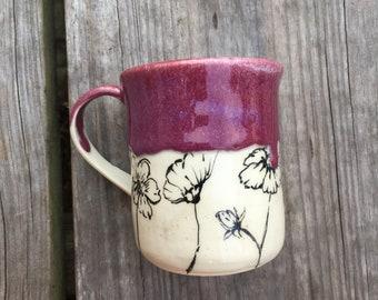 SOLD Discounted Handmade wheel thrown ceramic mug