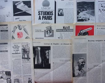 set of 10 pages of magazines vintage 50s/60s advertising - french - REF. 545