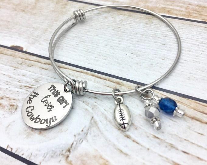This Girl Loves Football engraved bracelet, gift for female football fan, football jewelry, football bracelet, sports charm bracelet