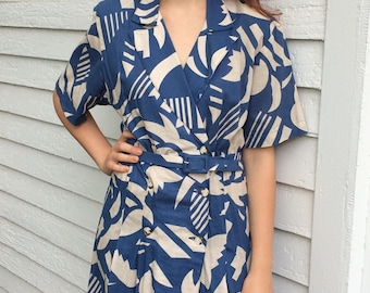 80s Retro Print Dress Beige Blue Cotton 50s M