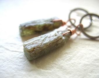 Green Kyanite Earrings, Kyanite Stone Silver Hoop Earrings, Artisan Handmade Gemstone Dangle Chandelier Earrings, Gemstone Jewelry