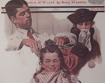 THE FIRST HAIRCUT Print By Norman Rockwell The Saturday Evening Post Bookplate Ready To Frame