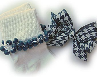 Kathy's Beaded Socks - Navy Houndstooth Socks and Hairbow, girls socks, pony bead socks, school socks, navy socks, houndstooth socks