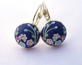 Dark Blue  Polymer Clay Earrings  ClayEmbroidery Tiny Earrings Gift for Her Filigree Earrings Polymer Clay Jewelry Polymer Clay Jewellery