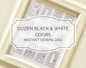 INSTANT DOWNLOAD Printable Dozen Black & White Mini Doors / Printable Door Drawing / Downloadable Pen and Ink  / Housewarming Gift