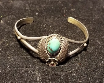 Old Turquoise and Sterling cuff bracelet Flower & Leaves  Native American