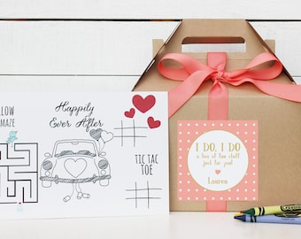 Set of 6 - Kids Wedding Boxes - ANY COLOR   Kids Wedding Favor Box   Kids Wedding Activity   Child's Activity Box   Rustic Dots label