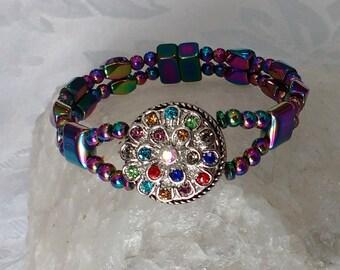 Rainbow Magnetic Hematite Bracelet, Removable Snap Button