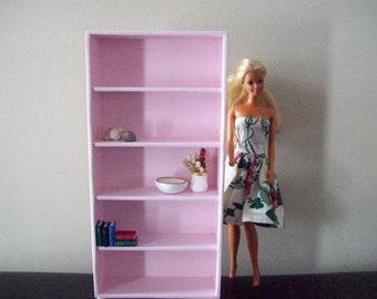 Extra Tall Pink Doll Bookcase/ Doll Shelves/ room divider/ 1 6 scale bookcase/ 1:6 scale shelves/ playscale shelves/ barbie blythe pullip