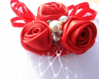 Red Rosettes Brooch-l Vintage Inspired Baby Girl Toddler Headband in Red-All ages Headband Photo Prop