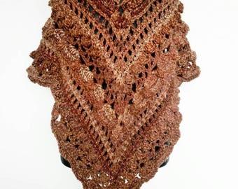 Crochet shawl, brown shawl, woollen shawl, chunky shawl, sparkly shawl, triangular shawl, crochet wrap, chunky wrap, triangle wrap, tassles