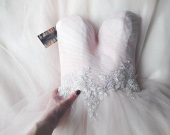 Wedding dress, pink wedding dress, boho wedding dress, lace wedding dress