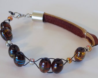 Leather and Glass beads Bracelet