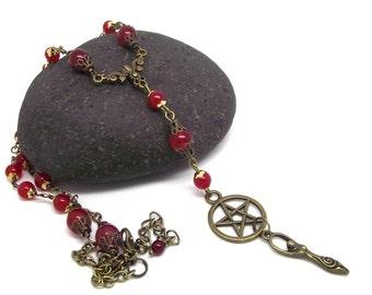 Pagan Rosary Ruby  Pentagram Goddess Vintage Inspired Pagan Jewelry Gemstone Jewelry Rosary Beads Pentagram Goddess