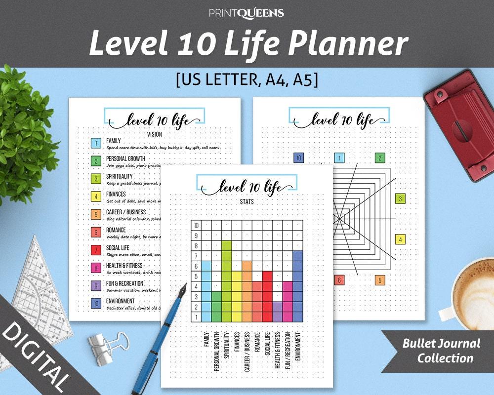 Stufe 10 Leben Stufe 10 Planer Bullet Journalvorlage Leben
