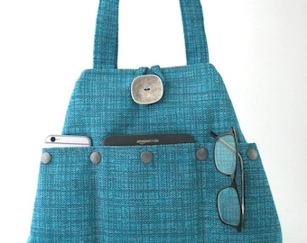 Blue handbag, shoulder bag, Turquoise purse, tote bag, fabric purse, hobo bag, bag with pockets, everyday bag