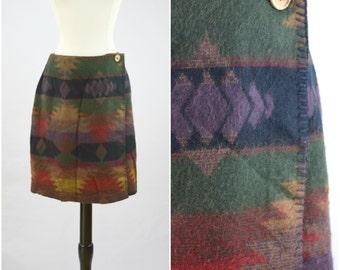 Vintage southwestern print wrap mini skirt