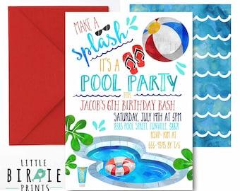 POOL PARTY Invitation Pool Party Birthday Boy Summer Swim