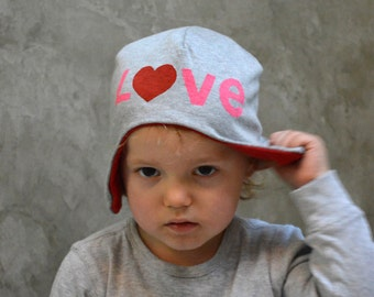 Love Hat - Upcycled Aviator Hat / Bomber Hat, Reversible Baby Hat, Heart Hat