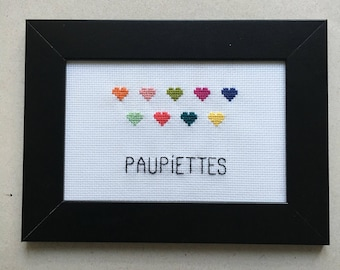 "Handmade cross-stitch Embroidery ""rolls"" deco frame"