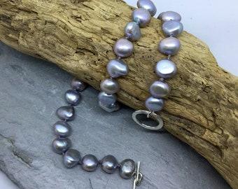 Pearl necklace, silver baroque pearls, hand knotted pearl necklace, fresh water pearl necklace