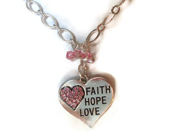 Faith Hope Love Necklace, Scripture Necklace, Christian Jewelry, Faith Necklace, Heart Necklace, Sale