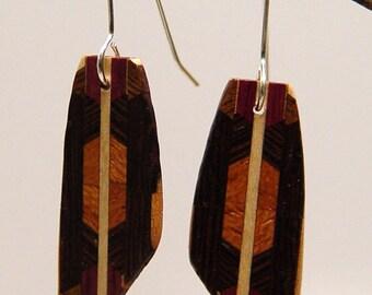 Wood Dangle, Drop, Silver Earwire, Wooden Earrings, earrings, 5-2