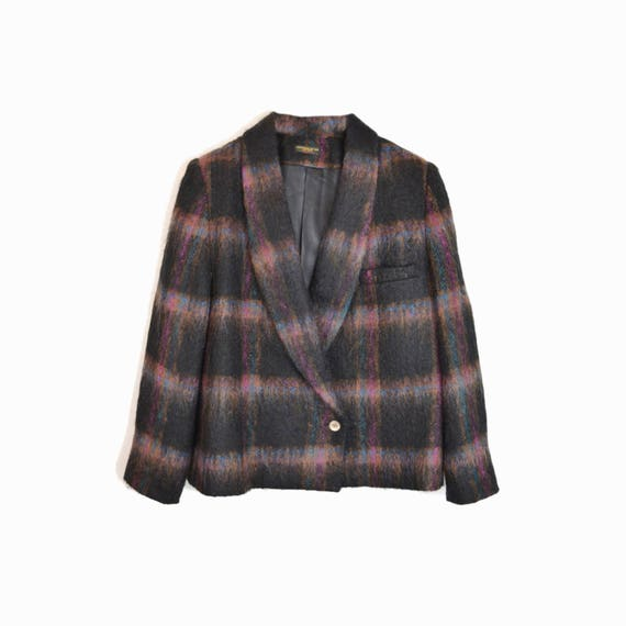 Vintage 80s Fuzzy Plaid Blazer Jacket in Black & Purple - women's medium