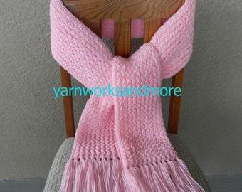 Pink Knit Scarf, Winter Scarf, Knit Scarf, Pink Scarf, Loom Knit Scarf, Warm Scarf, Handmade Scarf, yarnworksandmore