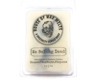 HORROR WAX MELTS, We Belong Dead, Citrus, Floral, Amber, & Musk Scented, Bride of Frankenstein Movie Quotes, Black and White Clamshell