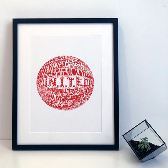Manchester United - Typography Print Poster