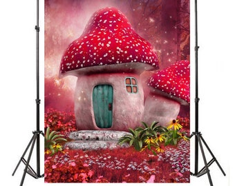 5x7ft Printed Vinyl Enchanted Fairy Mushroom House theme Backdrop / Background / Banner for Baby Shower or Birthday