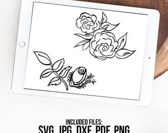 Roses SVG, Roses Vector, Hand Drawn, Silhouette Cut File, Flower SVG, Flower Clipart, SVG Cut File, Graphic Overlay