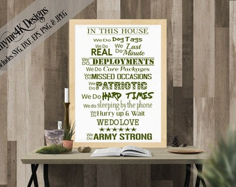 """Digital Design """"In this House...ARMY STRONG"""" Instant Download - Make a sign, wall art, etc. Includes svg, png, jpeg, dxf, and eps."""