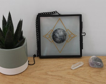 Phase out - Moon Artwork - Ink and Paper - Framed Paper Cut - Minimalist Home