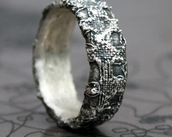Raw texture silver ring - made to order in your size