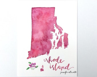 Rhode Island watercolor state art print map