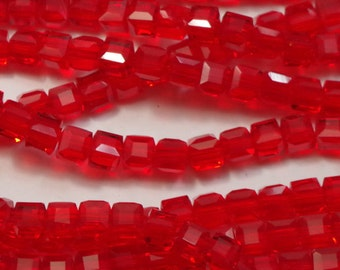 RED GLASS CUBE beads (40), 6mm destash, craft supplies, jane possum bari, beading, jewelry supplies, jewellery supplies, craft