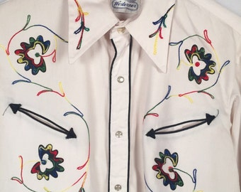 Vintage Sears Westerner Embroidered Western Pearl Snap Shirt Size MEDIUM