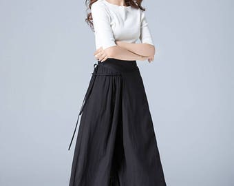 black pants, linen pants, wide leg pant, capri pants, loose pants, wrap pants, palazzo pants, casual pant, summer pants, skirt pants  1771