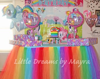 Rainbow table tutu skirt color of your choice, table skirt, party supplies, party decorations supplies