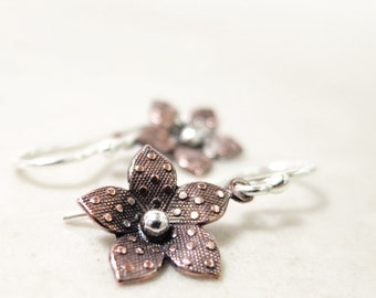Copper flower earrings, Sterling Silver, Nature jewelry