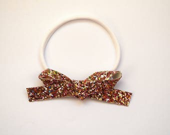 Gold MULTI Glitter LARGE Bow One Size Fits All Elastic Photo Prop for Newborn Baby Little Girl Child Adult Headwrap Pretty Easter Bow
