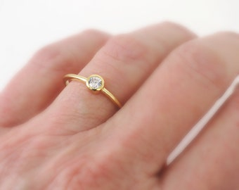 Gold Ring - Diamond Crystal Ring - Skinny Ring - Stackable Ring - Solitaire Ring - Gold Plated Ring