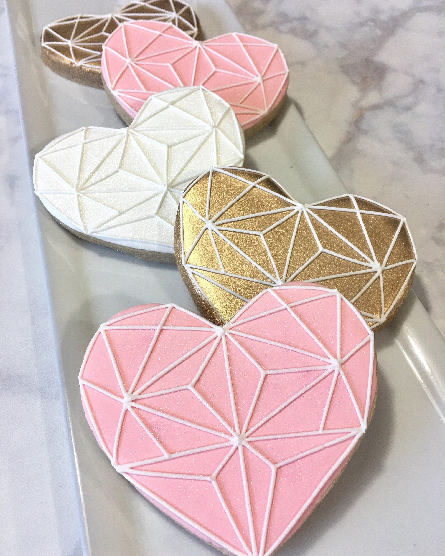 Geometric Heart Diamond Cookies One Dozen 12