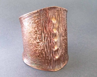 Hammered Copper Cuff Bracelet Medieval Gothic Goddess Jewelry Handmade Rustic Renaissance Jewelry Copper 7th Anniversary Gift for Her