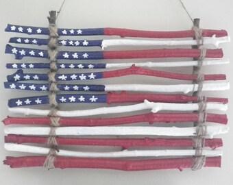 Americana Wooden Twig Flag